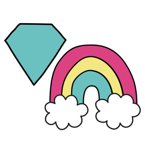 unicorn diamond and rainbow icons