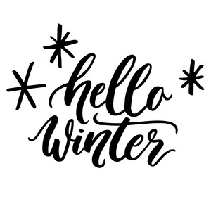 hello winter christmas phrase