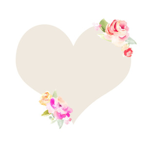cute heart frame with flowers