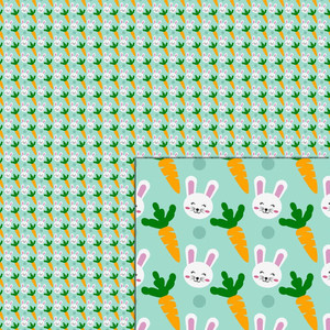 easter bunny and carrot pattern