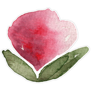 pink watercolor flower with leaves