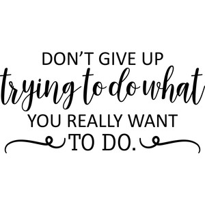 don't give up trying to do what you want