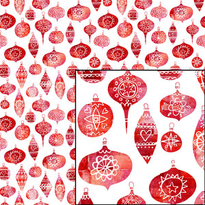 retro christmas baubles seamless repeat pattern