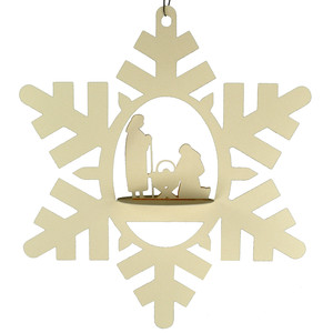 nativity snowflake 3d oval hanging ornament