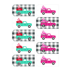 hearts truck print and cut tags