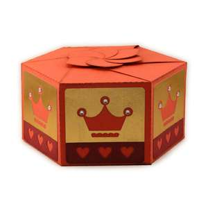 3d hexagon box with swirl top crowns