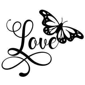 love butterfly word