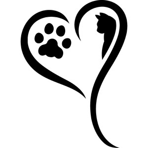 cat paw with heart