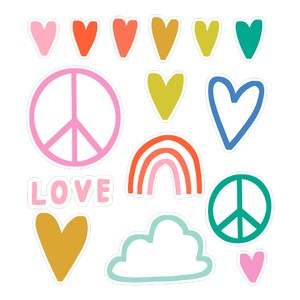 peace and love sticker set