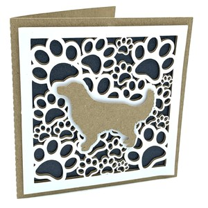 dog and paws square card