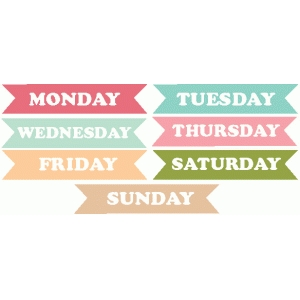 days of the week word tags