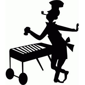 retro dad barbecue silhouette