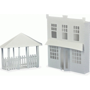 3d ledge village - store front and gazebo