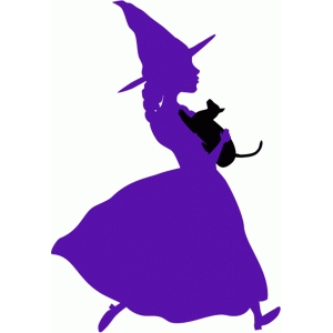little witch with cat silhouette