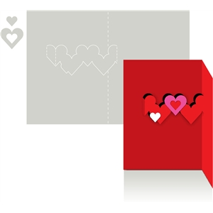 card pop up hearts