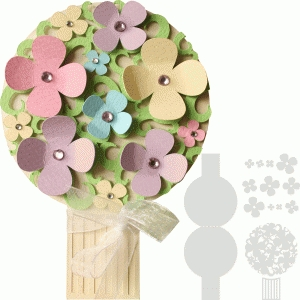bouquet of flowers shape layer card