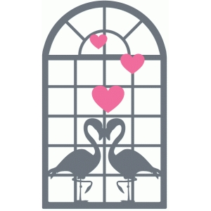 flamingo love scene window