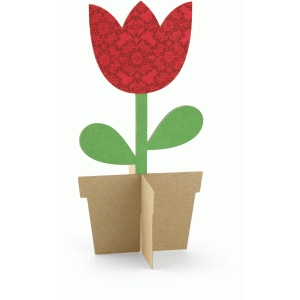 3d tulip in pot