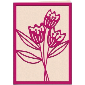 tulips papercut 7x5 card
