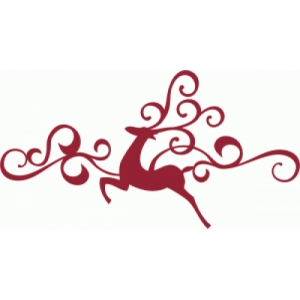 flying reindeer flourish border