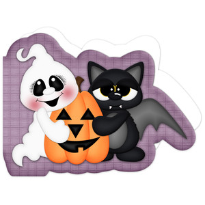 halloween ghost & bat card
