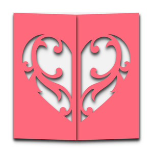 flourish heart gatefold card