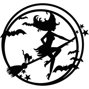 halloween witch in moon