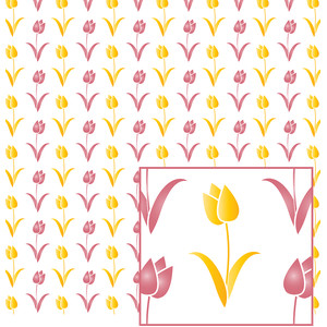 yellow & pink tulip pattern
