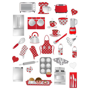 red and chrome kitchen planner stickers