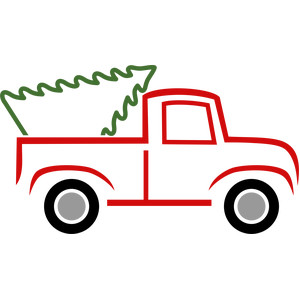 red truck with christmas tree lines