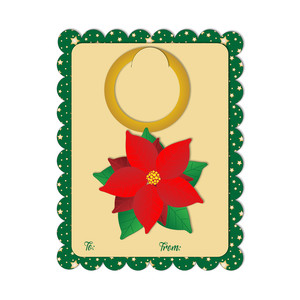 a2 card with poinsettia wine tag