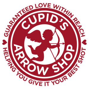 valentine circle label - cupid's arrow shop
