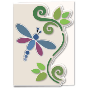dragon fly swirl shaped edge 5x7 card