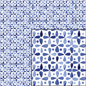 indigo blue watercolor geometric pattern