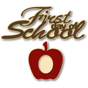apple frame & 'first day of school' phrase