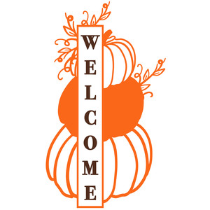 welcome stacked pumpkins