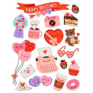 kawaii valentine's day stickers