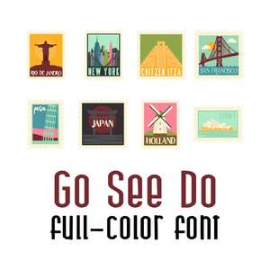 go see do stamps color font