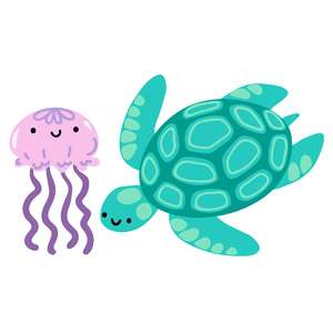 kawaii sea turtle and jellyfish