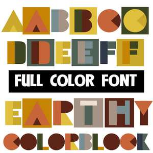 earthy colorblock color font