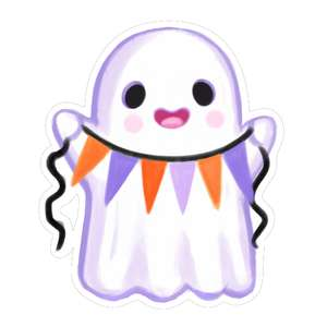 kawaii ghost with party flags