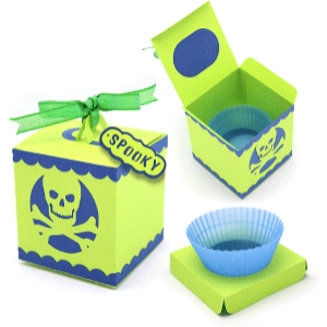 'skull' 3-d cup cake box