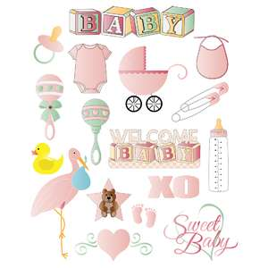 baby planner sticker sheets in pink