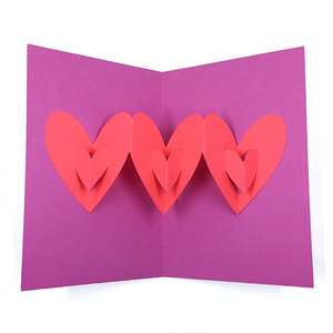 3d hearts pop up card