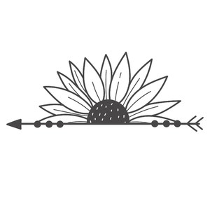 half sunflower boho arrow