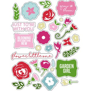 ml flat lovely flowers stickers
