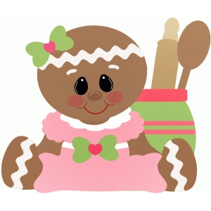 gingerbread girl sitting with cooking tools