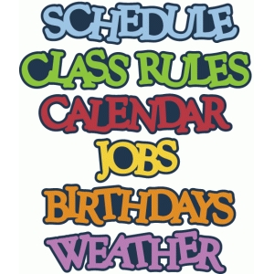 class rules, schedule, calendar words