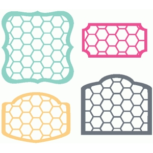 set of 4 hexagon labels