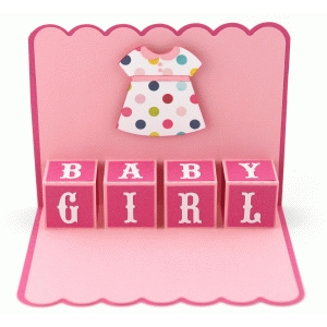 a2 baby girl blocks pop up card